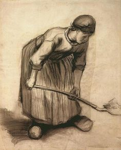 Vincent van Gogh 1885+Peasant+Woman+Digging+black+chalk+&+wash.