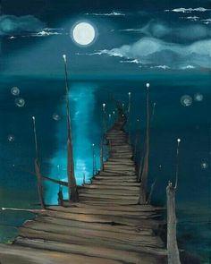 Moon lit bridge to nowhere...