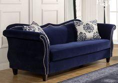 Amazon.com: Furniture of America Athena Glamorous Sofa, Royal Blue: Home & Kitchen