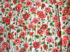 Vintage 1960s Fabric Chintz Coral Flowers by RebeccasVintageSalon, $24.00
