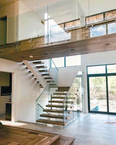 66 unique modern staircase design ideas for your dream house 9 Oak Stairs, Glass Stairs, Wood Staircase, House Stairs, Staircase Design, Stair Design, Glass Stair Railing, Glass Railing System, Interior Balcony