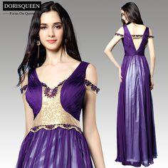 purple silk chiffon dress party evening dresses elegant long evening dresses prom dresses new fashion 2015