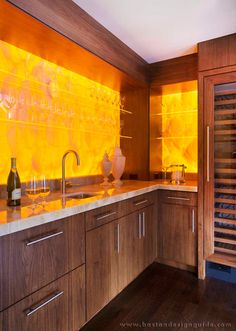 Amazing A Bleached Walnut Wet Bar With Backlit Honey Onyx Backsplash And Floating  Staru2026 Custom Home