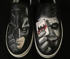 Batman Joker Painted Shoes by Because42CustomKicks on Etsy