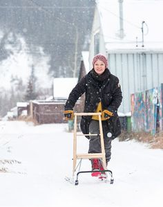 The kicksled, or potkukelkka in Finnish, is part scooter, part sled. It has two long runners for self-propulsion on snow. With a wooden seat at the front, it can accommodate a backpack or two. It is widespread in Scandinavian countries, especially... Yukon Territory, Scandinavian Countries, Sled, Outdoor Fun, Runners, Holiday, Christmas, Backpack, Toys
