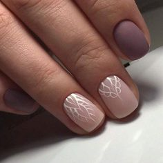 Light And Dark Nude Nails With Lace Design