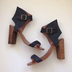 "Jeffrey Campbell + Free People Magic Heels EUC. Black leather. 4"" heel Free People Shoes"