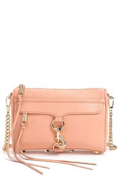 This pink Rebecca Minkoff crossbody bag with gold hardware is so chic and perfect for spring. It's just the right size... not too big or too small. It will fit your lipstick, iPhone, wallet... all the essentials!
