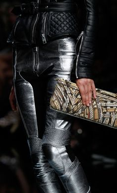 leather motoX pants---yes please LOL Minus the clutch, don't think u need that on a bike, obviously.