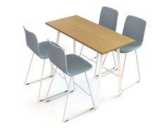 Alku conference table, designed by Iiro Viljanen, and Sola chair, designed by Antti Kotilainen. The Alku-series includes different working desks, conference tables and standing height desks with two leg types. Conference Table Design, Standing Desk Height, Work Desk, Particle Board, Table Desk, Desks, Office Furniture, Dining Chairs, Tables