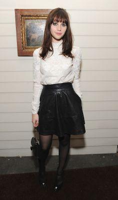 White Shirt, Leather High Waist Skirt   Felicity Jones