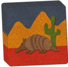 "Custom & Cool {4"" Inches} Set Pack of 4 Square ""Grip Texture"" Drink Cup Coaster Made of Cork w/ Cork Bottom & Armadillo Desert Cactus Nature Scene Design [Brown, Red, Green & Blue Colors]"