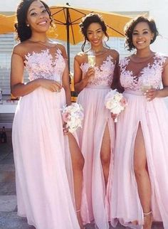 A-line Appliqued Long Bridesmaid Dress With Slit Custom Made Wedding Party  Dress YDB0016 4647230ee09d