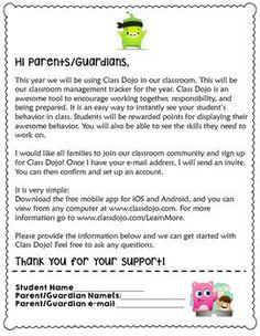 Class Dojo Parent Letter                                                       …