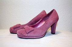 Mauve Suede Pumps Vintage Platform Shoes with Bows