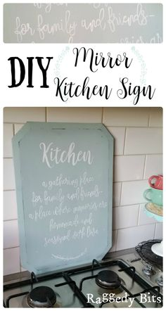 After finding an old dresser mirror at my local thrift shop, the mirror was to crazed to use as a mirror. I then turned it into a DIY Mirror Kitchen Sign.