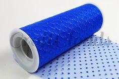 "Glitter Dot Tulle 6"" x 10 Yards - Royal Blue"