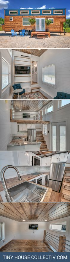 A tiny house with a full kitchen, luxury bathroom, and a loft bedroom with enough headspace to stand in!