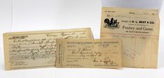 1800's Reciepts, Set of 3, Vintage Paper, Ephemera, Rent, Loan, H.L. Best & Co., Poultry and Game, South Water St., Chicago by QueeniesCollectibles on Etsy