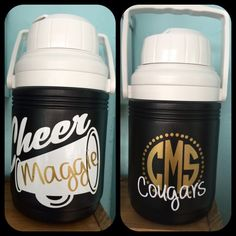 TMS Wolf Pack - 1 side & name vertically down other with cheer megaphone. Personalized cheer team water jug, name and team. Cheerleading Spirit Gifts, Cheer Megaphone, Cheer Tryouts, Cheer Spirit, Cheerleading Crafts, Cheer Coaches, Cheer Stunts, Volleyball Players, Cheer Sister Gifts
