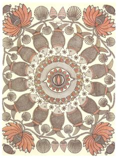 indian painting in the madhubani (or mithila) style by ganga devi
