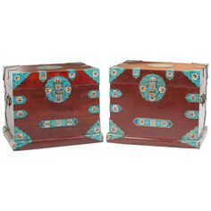 Pair of Mid-Century Mahogany Cloisonne Chests | 1stdibs.com
