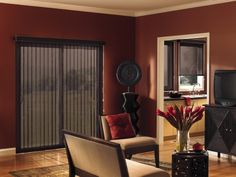 Love the darker color for a vertical blind in a family room.