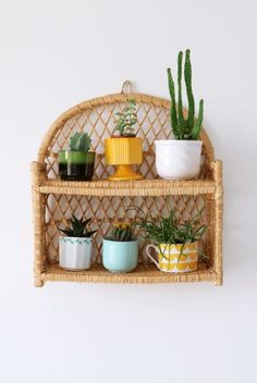 Love this rattan shelf for pot plants Cane Furniture, Bamboo Furniture, Furniture Styles, Home Decor Bedroom, Living Room Decor, Wicker Bedroom, Decoration Plante, My First Apartment, Aesthetic Rooms