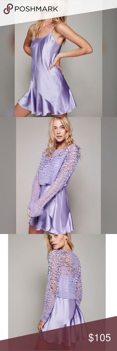 Free People Ana Sui purple slip dress Brand new with tags! American made set featuring a femme slip with a ruffled hem.. Slip has adjustable straps for the perfect fit. Sweater is not included. Free People Dresses Mini