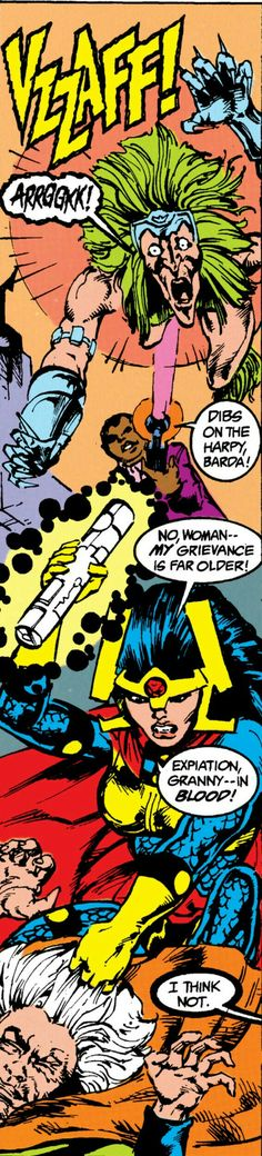 Darkseid's demons Granny Goodness and the Female Furies fighting Big Barda and the Suicide Squad