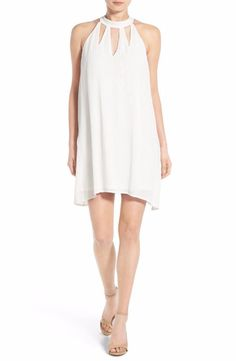 FIRE White High Neck Gauze Shift Dress Small $48 FTC #4066