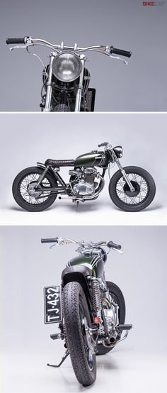 Not all new wave customs are fair weather bikes. This long, low Honda CB350 K4 comes from inside the Arctic Circle—or, to be more precise, from the small city of Rovaniemi in Lapland, northern Finland. The average annual temperature is a smidge above zero °C, and there's snow on the ground for 175 days a year. That didn't deter industrial design student Timo Karinen though. He worked on the bike in a friend's warehouse—heated, we hope—and fabricated the metal in a workshop at his university.