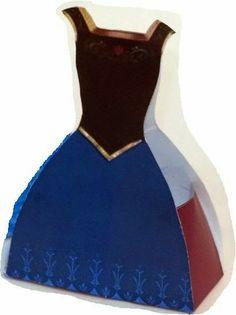 Ana de Frozen: Caja con Forma de Vestido para Imprimir Gratis.