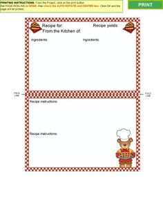 Cooking Collection   Recipe Card Templates For Ms Word  Kitchen