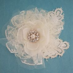 Ivory Lace and Tulle Rose Hair Clip C165 bridal by HARTfeltart, $41.00