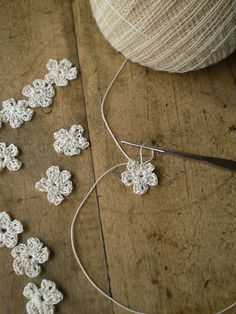 sweet, tiny crochet flowers.