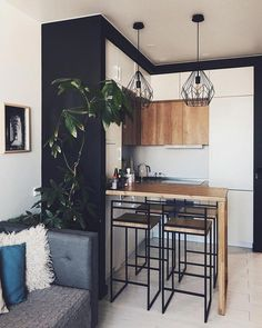 Kitchen interior design – Home Decor Interior Designs Condo Interior Design, Small Apartment Interior, Small Apartment Kitchen, Small Apartment Design, Tiny Apartment Decorating, Modern Interior, Kitchen Room Design, Home Decor Kitchen, Kitchen Interior