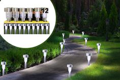 12 or 24 Stainless Steel Solar Garden Lights