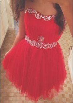 Vestido Cocktail 2016 Red Cocktail Dresses Off Shoulder Sweetheart Beaded Crystal Tulle Aline Party Dress vestido de festa curto