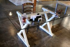Modern White Glass Desk - Steel Metal Base, Any Color. $875.00, via RobRRay on Etsy.