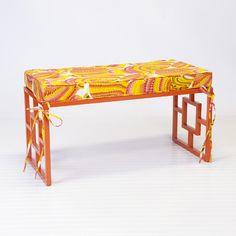 Charleston Orange Indoor/Outdoor Bench w. Pisces Cushion