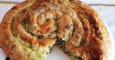 This is a traditional Bosnian recipe known as Pita. It is basically a spinach and cheese pie, not to dissimilar to the Greek Spinach Pie or. Greek Spinach Pie, Spinach And Cheese, Bosnian Recipes, Bosnian Food, Greek Recipes, Light Recipes, Thermomix Pizza Dough, Pastry Recipes, Cooking Recipes
