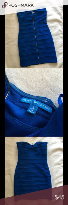 Walter by Walter Baker Sz Small Zip Detail Dress Fun zipper detail along front and front bodice. Sz Small. Beautiful cobalt blue color. 26 inches long. Excellent condition. Walter Baker Dresses Mini