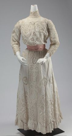 Woman's 2-piece off-white handmade linen cutwork eyelet lace dress with crochet panels and tatting at collar, ca 1905. | Missouri History Museum #vintage #vintagefashion