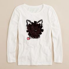 Girls long sleeve doggie tee from JCrew~ maybe we could make this?  Jewel nose, warm heart. This supersoft cotton jersey tee features the face of one cute Fido made three-dimensional with ribbons and twinkling rhinestone eyes. Finished off with a glittery heart for all those girls who must love dogs. Crewneck. Long sleeves. Import. Machine wash. Sizes 2 and 3 feature glitter instead of sequins.