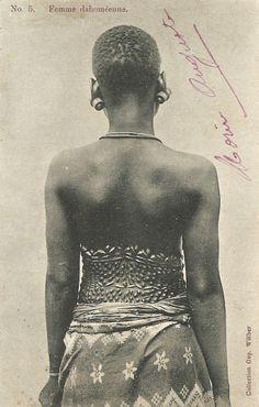 "postcard, circa 1900, Benin Republic. Caption"" Dahomey woman."" Photographer Geo Wolber."