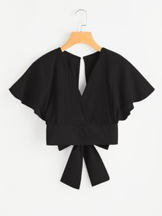 Shop Deep V-cut Keyhole Back Bow Tie Blouse online. SheIn offers Deep V-cut Keyhole Back Bow Tie Blouse & more to fit your fashionable needs. Bow Tie Blouse, Collar Blouse, Plain Tops, V Cuts, Batwing Sleeve, Romwe, Types Of Sleeves, Blouse Designs, Trendy Outfits