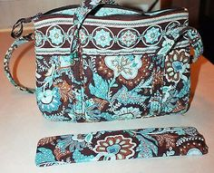 "Vera Bradley "" Java Blue"" Retired Tote Bag Purse Medium"