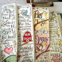 A couple of my first entries are in the middle... It's fun looking back at my journey and remembering His faithfulness #thebookofmatthew #biblejournaling #illuminatedjournaling #illustratedfaith #ourgratefulhearts