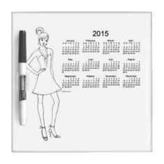 2015 Dry Erase Calendar Girl by Janz Dry Erase Whiteboards